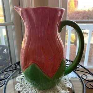 LENOX Floral Fusion 48 oz. Pitcher Pink Green
